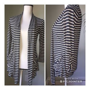 h.i.p. Navy white stripe open front cardigan